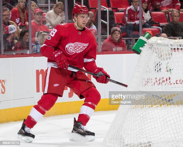 Anthony Mantha of the Detroit Red Wings follows the play during an NHL game against the Florida Panthers at Little Caesars Arena on December 11 2017...