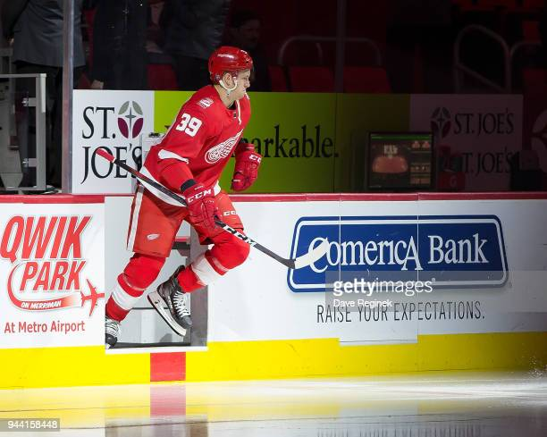Anthony Mantha of the Detroit Red Wings jumps on to the ice before the start of an NHL game against the New York Islanders at Little Caesars Arena on...