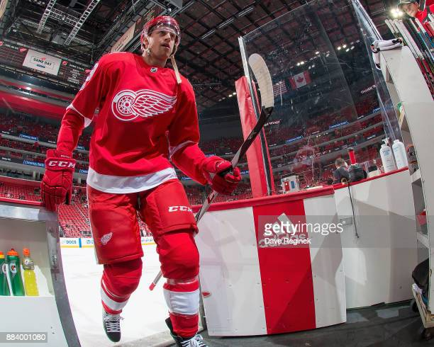 Anthony Mantha of the Detroit Red Wings leaves the ice after warm ups prior to an during an NHL game against the New Jersey Devils at Little Caesars...