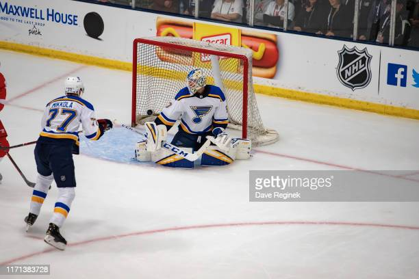 Anthony Mantha of the Detroit Red Wings scores a first period goal on Jordan Binnington of the St Louis Blues during a preseason Kraft Hockeyville...