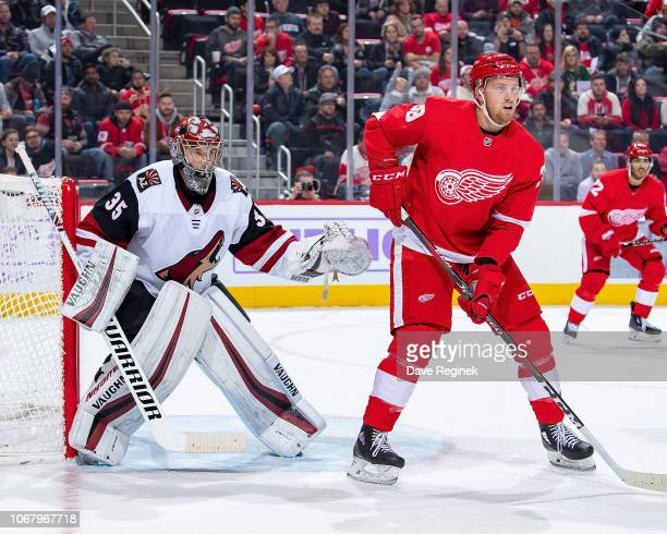 Anthony Mantha of the Detroit Red Wings sets up in front of Darcy Kuemper of the Arizona Coyotes during an NHL game at Little Caesars Arena on...