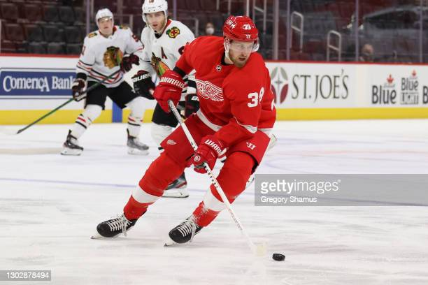 Anthony Mantha of the Detroit Red Wings skates against the Chicago Blackhawks at Little Caesars Arena on February 17, 2021 in Detroit, Michigan.