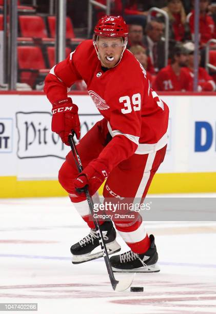 Anthony Mantha of the Detroit Red Wings skates against the Columbus Blue Jackets at Little Caesars Arena on October 4 2018 in Detroit Michigan