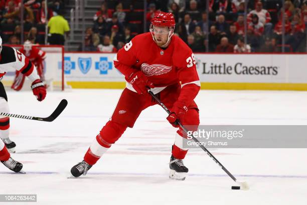 Anthony Mantha of the Detroit Red Wings skates against the New Jersey Devils at Little Caesars Arena on November 01 2018 in Detroit Michigan Detroit...