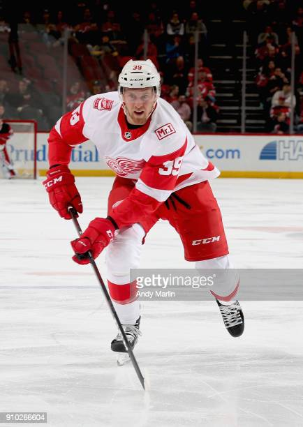 Anthony Mantha of the Detroit Red Wings skates against the New Jersey Devils during the game at Prudential Center on January 22 2018 in Newark New...