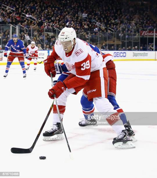 Anthony Mantha of the Detroit Red Wings skates against the New York Rangers at Madison Square Garden on November 24 2017 in New York City The Rangers...