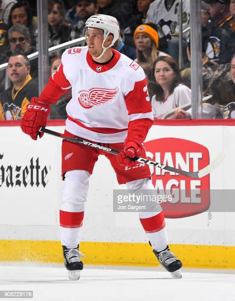 Anthony Mantha of the Detroit Red Wings skates against the Pittsburgh Penguins at PPG Paints Arena on January 13 2018 in Pittsburgh Pennsylvania