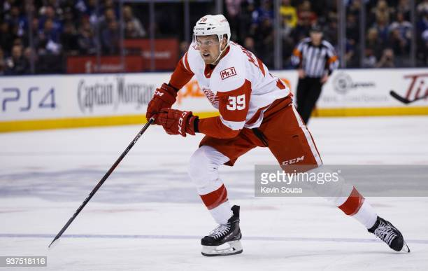 Anthony Mantha of the Detroit Red Wings skates against the Toronto Maple Leafs during the first period at the Air Canada Centre on March 24 2018 in...