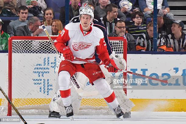 Anthony Mantha of the Detroit Red Wings skates by the net in the first period against the Columbus Blue Jackets on March 17 2016 at Nationwide Arena...