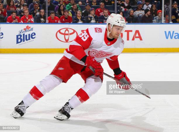 Anthony Mantha of the Detroit Red Wings skates during an NHL game against the Buffalo Sabres on March 29 2018 at KeyBank Center in Buffalo New York...