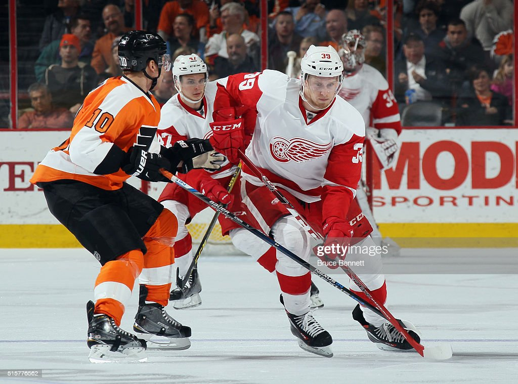 Anthony Mantha #39 of the Detroit Red Wings skates in his first NHL game against the Philadelphia Flyers at the Wells Fargo Center on March 15, 2016 in Philadelphia, Pennsylvania. The Flyers defeated the Red Wings 4-3.