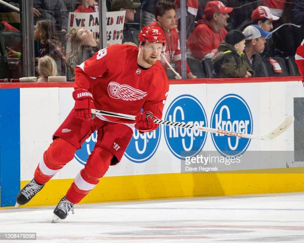 Anthony Mantha of the Detroit Red Wings skates in warm-ups prior to an NHL game against the Calgary Flames at Little Caesars Arena on February 23,...