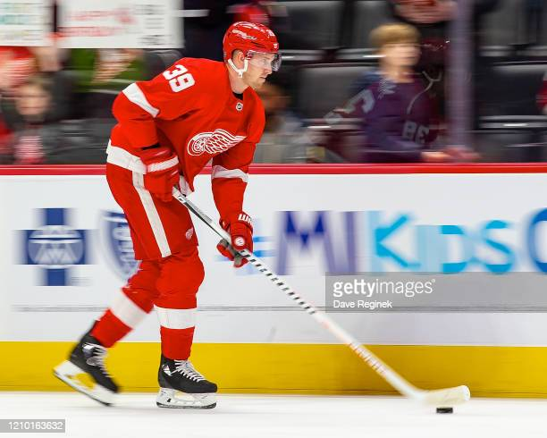 Anthony Mantha of the Detroit Red Wings skates in warm-ups prior to an NHL game against the Colorado Avalanche at Little Caesars Arena on March 2,...
