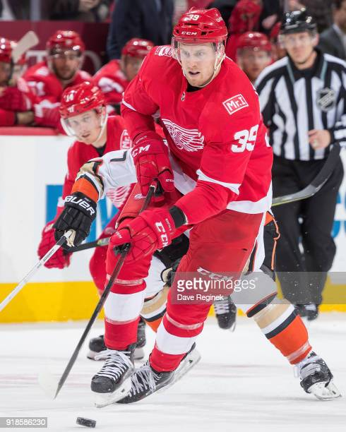 Anthony Mantha of the Detroit Red Wings skates up ice with the puck against the Anaheim Ducks during an NHL game at Little Caesars Arena on February...