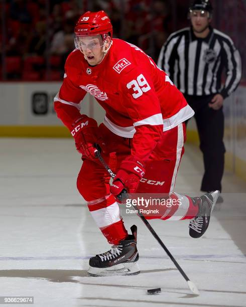 Anthony Mantha of the Detroit Red Wings skates up ice with the puck against the Philadelphia Flyers during an NHL game at Little Caesars Arena on...