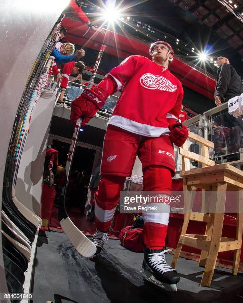 Anthony Mantha of the Detroit Red Wings walks out to the rink before the start of the second period during an NHL game against the New Jersey Devils...