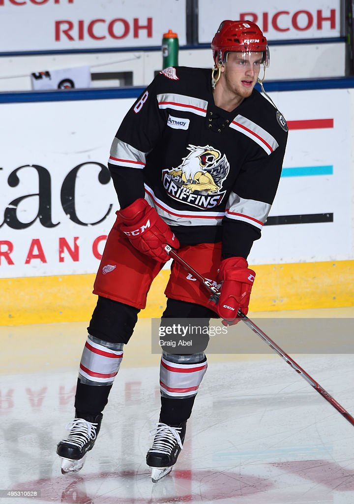 Anthony Mantha #8 of the Grand Rapids Griffins takes warmup prior to a game against the Toronto Marlies on October 30, 2015 at Ricoh Coliseum in Toronto, Ontario, Canada.