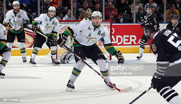 Anthony Mantha of the Val'Dor Foreurs gets set to try and block a shot against the London Knights in Game One of the 2014 Mastercard Memorial Cup at...