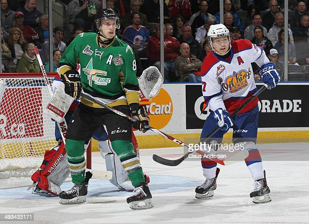 Anthony Mantha of the Val'Dor Foreurs looks to tip a shot against Curtis Lazar of the Edmonton Oil Kings during the SemiFinal of the 2014 MasterCard...