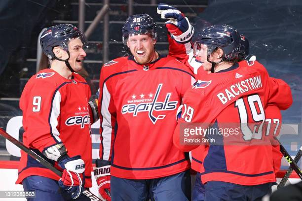 Anthony Mantha of the Washington Capitals celebrates with teammates after scoring a goal against the Philadelphia Flyers during the second period at...