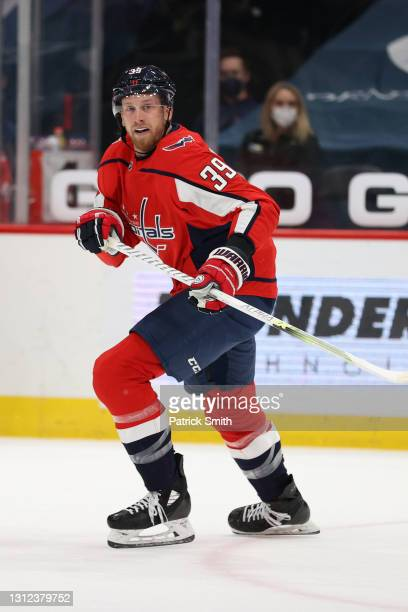 Anthony Mantha of the Washington Capitals skates against the Philadelphia Flyers during the first period at Capital One Arena on April 13, 2021 in...
