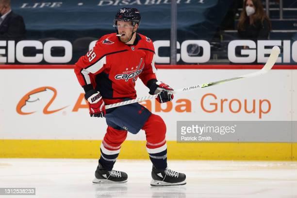 Anthony Mantha of the Washington Capitals skates against the Philadelphia Flyers at Capital One Arena on April 13, 2021 in Washington, DC.