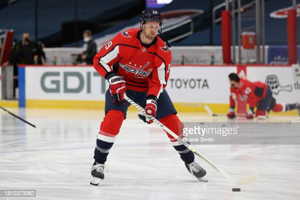 Anthony Mantha of the Washington Capitals warms up before playing against the Philadelphia Flyers during the first period at Capital One Arena on...