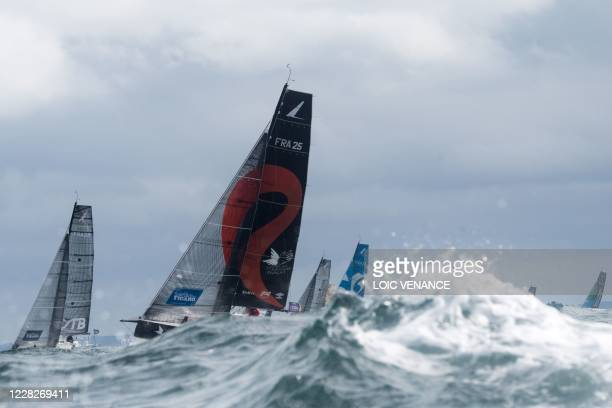 Anthony Marchand , Groupe Royer - Secours Populaire 25, takes to the start with others skippers of the 51st edition of La Solitaire du Figaro solo...