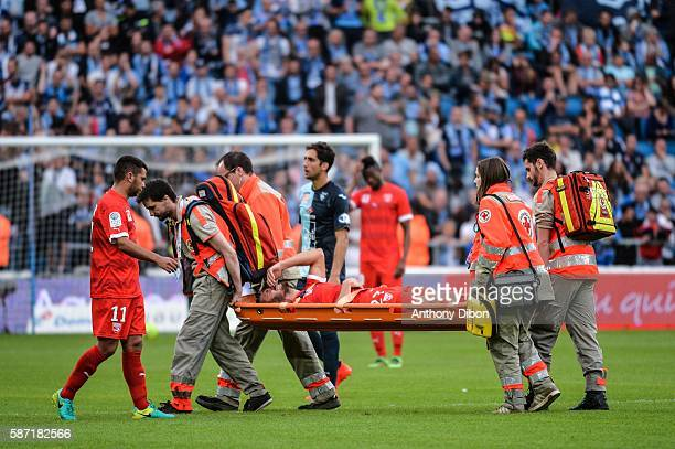 Anthony Marin injured during the Ligue 2 match between Le Havre AC and Nimes Olympique on August 4 2016 in Le Havre France