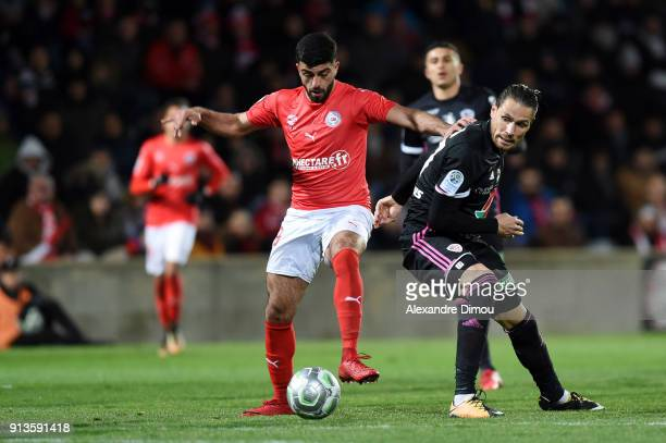 Anthony Marin of Ajaccio and Umut Bozok of Nimes during Ligue 2 match between Nimes and AC Ajaccio at Stade des Costieres on February 2 2018 in Nimes...
