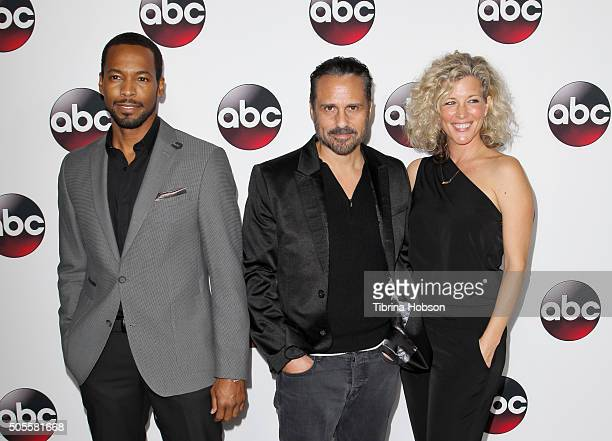 Anthony Mark Maurice Benard and Laura Wright attend the Disney/ABC 2016 Winter TCA Tour at Langham Hotel on January 9 2016 in Pasadena California
