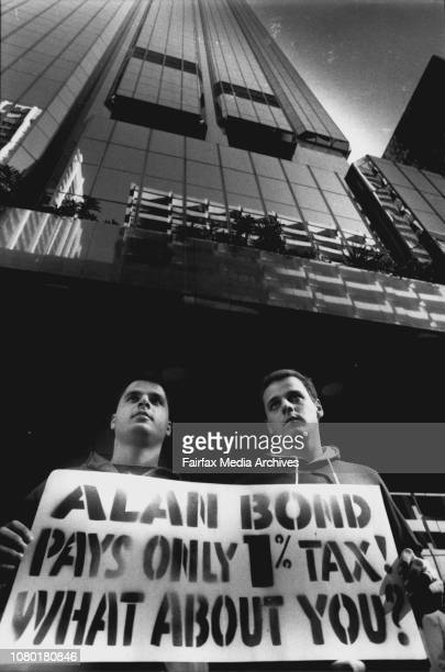 Anthony Marocchini and Eric White 20 demonstrateDemonstrators against not paying tax outside the Bond Corp building in Martin Place today May 24 1989