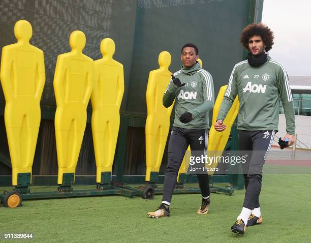 Anthony Martial and Marouane Fellaini of Manchester United in action during a first team training session at Aon Training Complex on January 28 2018...