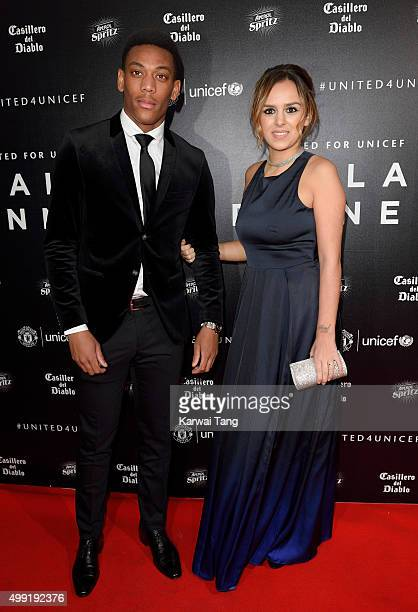 Anthony Martial and Samantha Martial attend the United for UNICEF Gala Dinner at Old Trafford on November 29 2015 in Manchester England