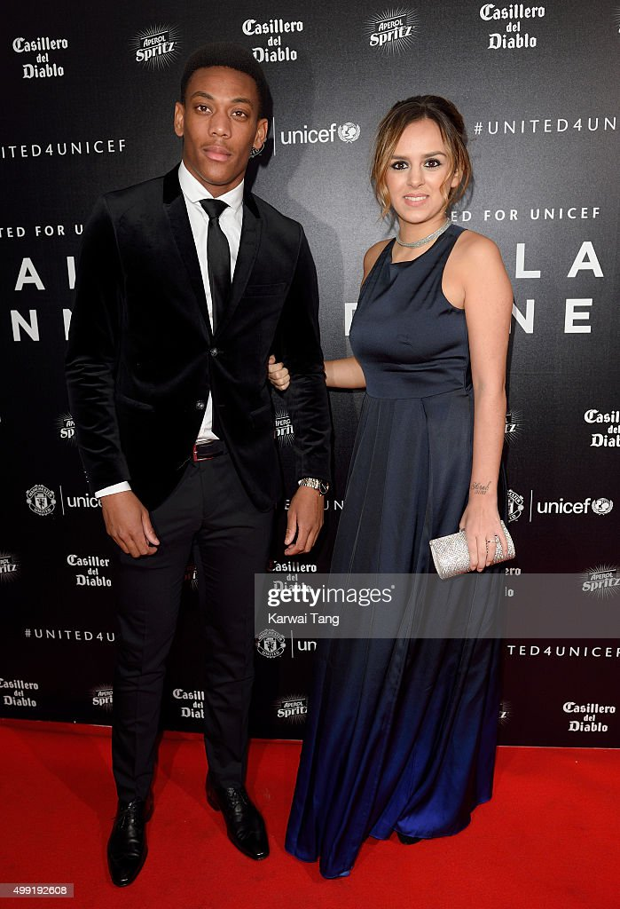 Anthony Martial and Samantha Martial attend the United for UNICEF Gala Dinner at Old Trafford on November 29, 2015 in Manchester, England.