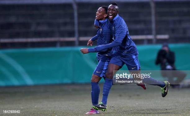 Anthony Martial and Seko Fofana of France celebrates their team's second goal during the U18 International Friendly match between Germany and France...