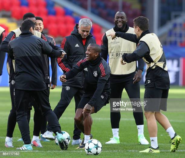 Anthony Martial Ashley Young Romelu Lukaku and Ander Herrera of Manchester United in action during a training session ahead of their UEFA Champions...
