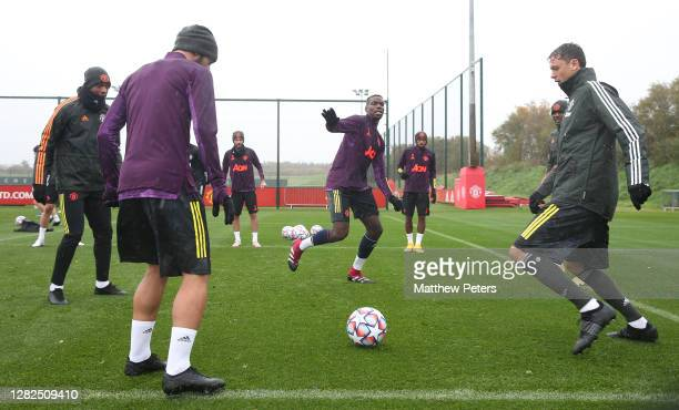 Anthony Martial Bruno Fernandes Paul Pogba Nemanja Matic of Manchester United in action during a first team training session ahead of the UEFA...
