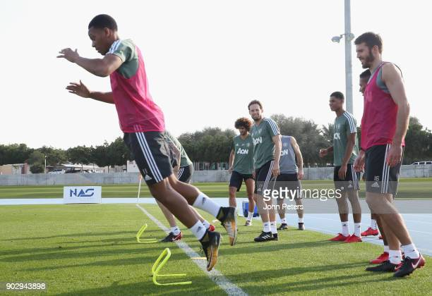 Anthony Martial Daley Blind Marcus Rashford and Michael Carrick of Manchester United in action during a first team training session at Nad Sheba...