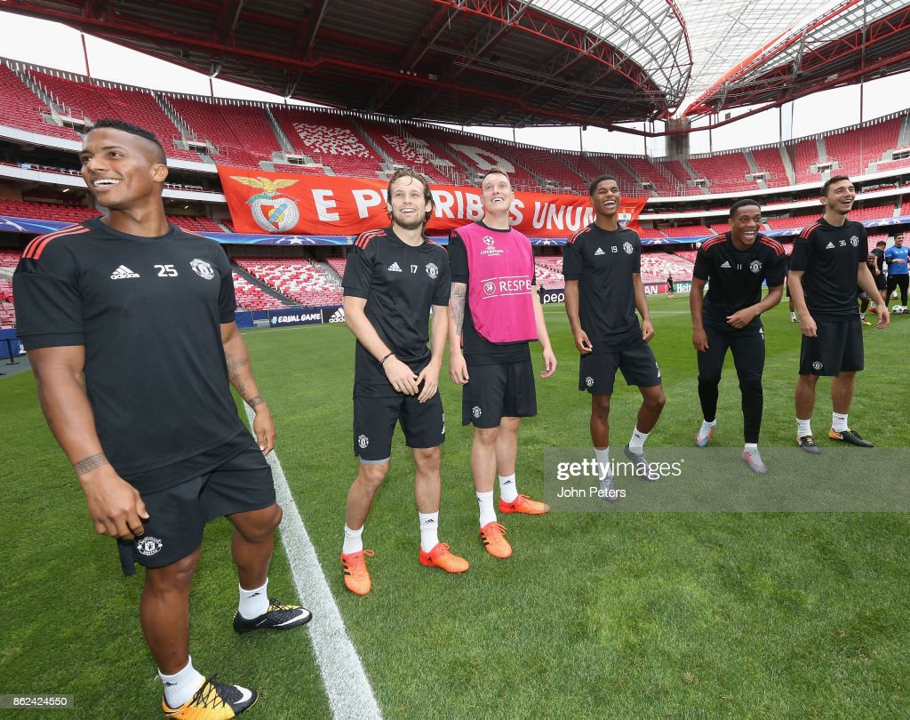 Anthony Martial, Daley Blind, Phil Jones, Marcus Rashford, Anthony Martial and Matteo Darmian of Manchester United in action during a training session ahead of their UEFA Champions League match against Benfica on October 17, 2017 in Lisbon, Portugal.