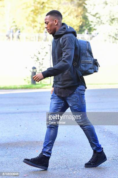 Anthony Martial of France arrives at the Centre National du Football in Clairefontaine en Yvelines France on November 6 2017