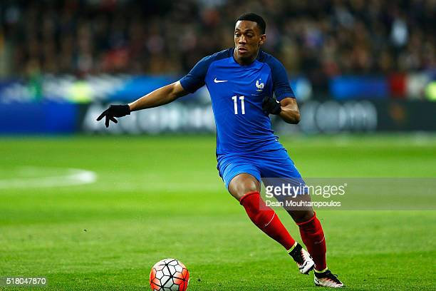 Anthony Martial of France in action during the International Friendly match between France and Russia held at Stade de France on March 29 2016 in...
