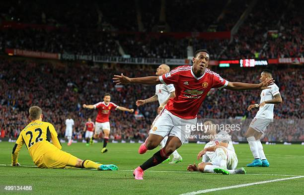 Anthony Martial of Man Utd celebrates after scoring their 3rd goal during the Barclays Premier League match between Manchester United and Liverpool...