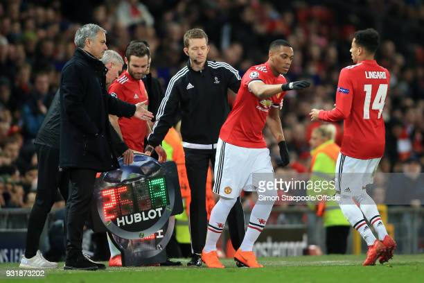 Anthony Martial of Man Utd comes on as a substitute to replace Jesse Lingard of Man Utd during the UEFA Champions League Round of 16 Second Leg match...