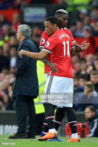 Anthony Martial of Man Utd comes on as a substitute to replace Paul Pogba of Man Utd during the Premier League match between Manchester United and...