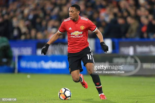 Anthony Martial of Man Utd in action during The Emirates FA Cup Fifth Round match between Huddersfield Town and Manchester United at the John Smith's...
