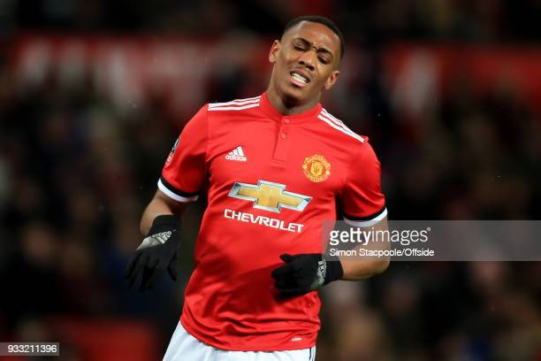 Anthony Martial of Man Utd looks dejected during The Emirates FA Cup Quarter Final match between Manchester United and Brighton and Hove Albion at...