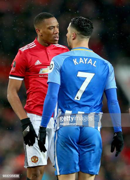 Anthony Martial of Manchester and Beram Kayal of Brighton during the Emirates FA Cup Quarter Final between Manchester United and Brighton Hove Albion...