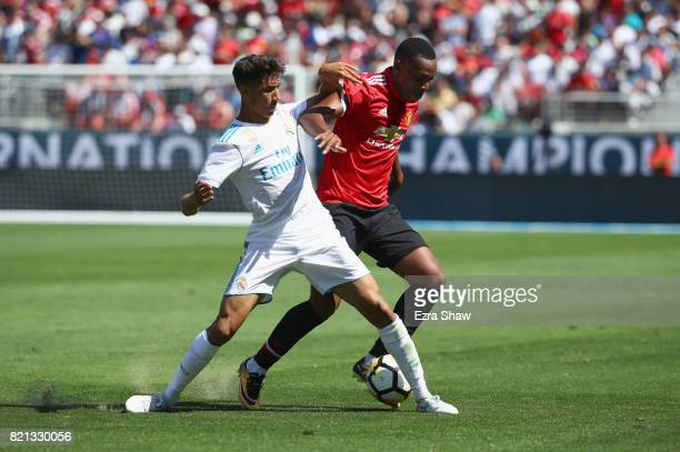 Anthony Martial of Manchester United and Hakimi Achraf of Real Madrid go for the ball during the International Champions Cup match at Levi's Stadium...