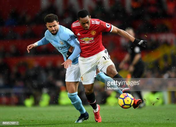 Anthony Martial of Manchester United and Kyle Walker of Manchester City in action during the Premier League match between Manchester United and...